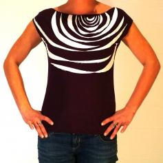 Tee shirt original sérigraphié motif zébré prune