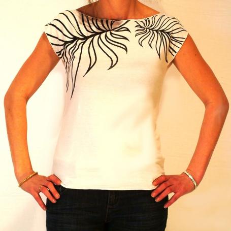 Tee shirt  sérigraphié motif feuille
