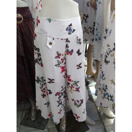 Pantalon papillon blanc coton