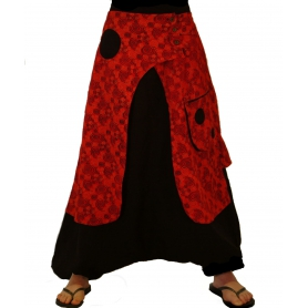 Sarouel ethnique mixte spirale rouge