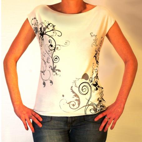 Tee shirt  sérigraphié volutes blanc