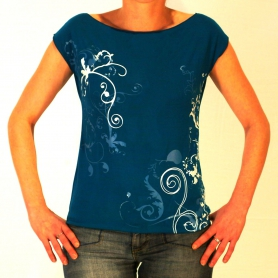 Tee shirt  sérigraphié volutes turquoise