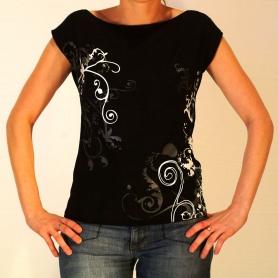 Tee shirt  sérigraphié volutes noir/blanc