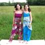 Sarouel fille motif fleur Turquoise