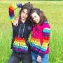 Veste arc en ciel enfant ou adulte noire Nepal