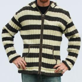 Veste laine et polaire mixte blanc et gris