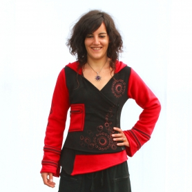 Veste cache coeur polaire Noire et rouge nepal
