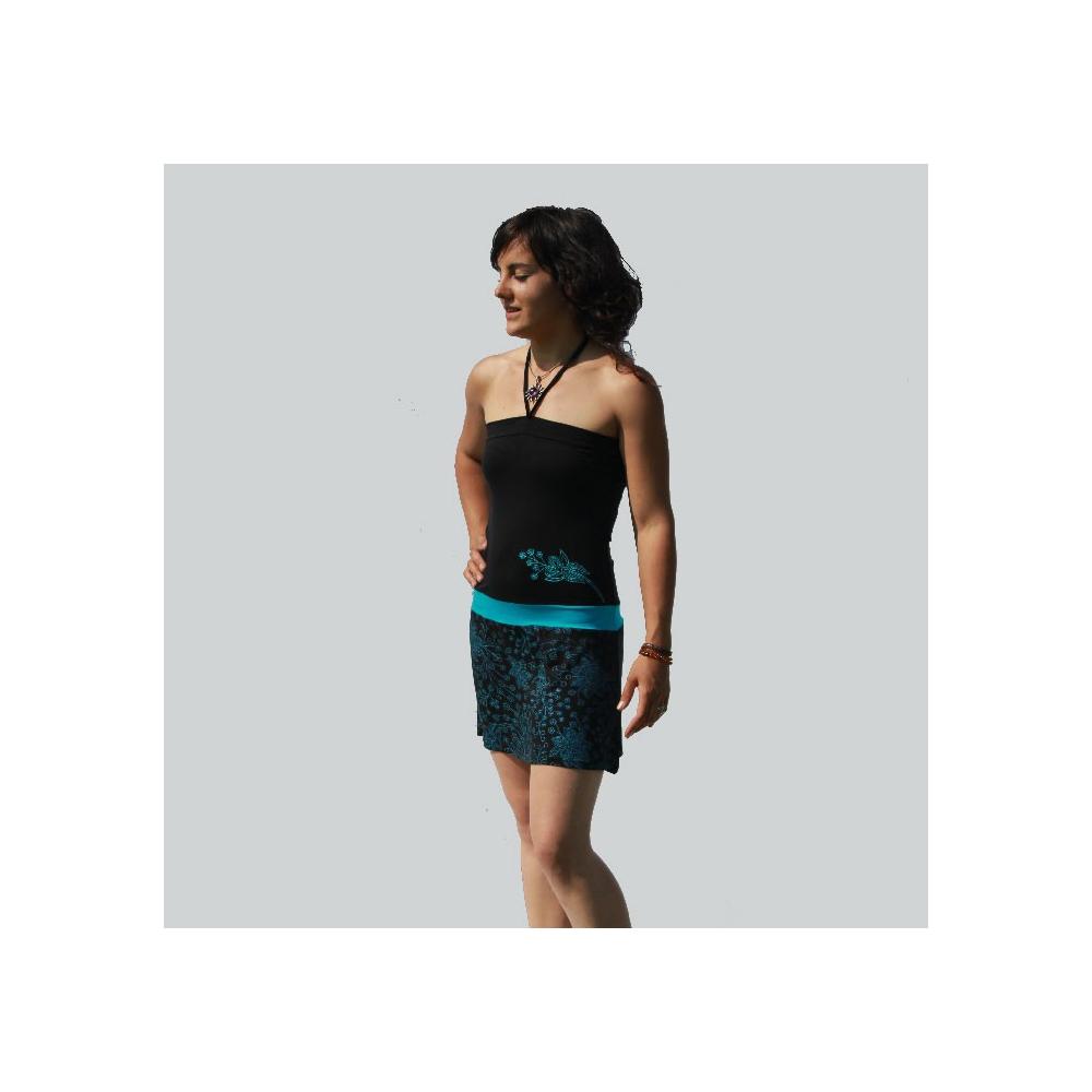 robe courte plage noire et bleue en lycra l ger. Black Bedroom Furniture Sets. Home Design Ideas