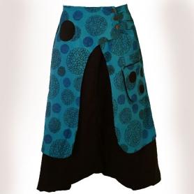 Sarouel Ethnique mixte 70's flower turquoise