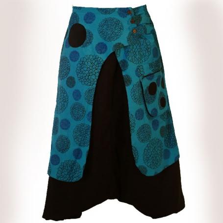 Sarouel Ethnique mixte noir et turquoise