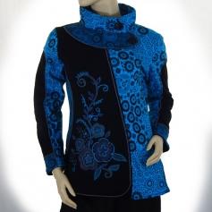 Veste coton brodée Bleue