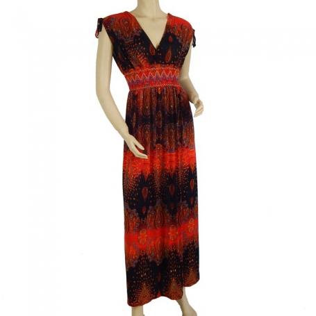 Robe longue fluide noire et rouge