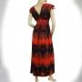 Robe longue fluide noire et rouge dos