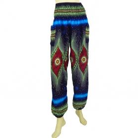 pantalon bouffant fluide imprimé bleu