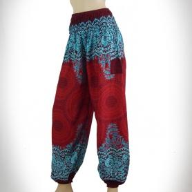 pantalon bouffant fluide imprimé rouge