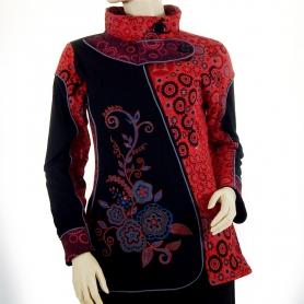 Veste coton brodée Rouge