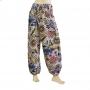 Pantalon bouffant coton imprimé blanc dos