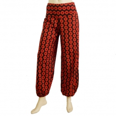 Pantalon bouffant coton imprimé orange