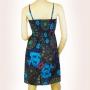 Robe courte bretelle réglables imprimé ethnique turquoise dos