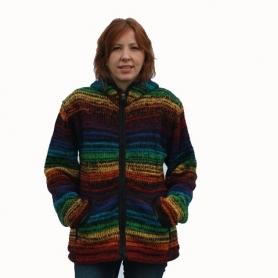Veste laine et polaire couleur arc en ciel