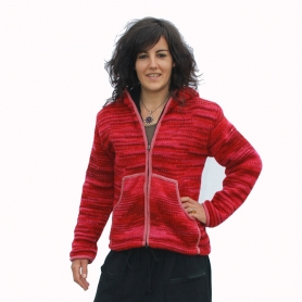 Veste laine et polaire femme Rose chiné